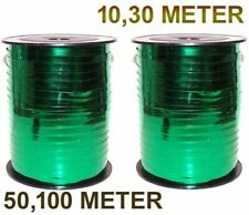 5mm Curling Ribbon GREEN Metallic 10m - 100m Perfect for Balloons & Gift Wrap