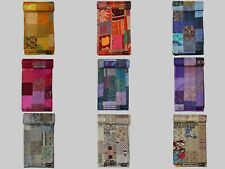 Indian Bedding Coverlet Cotton Blankets Patch Work Bedspreads Silk Kantha Quilts