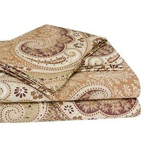 Milano Paisley Mocha Cal King 300 Thread Count 100% Cotton Sateen Printed Sheet