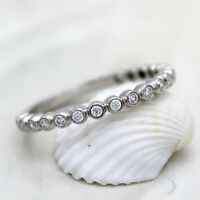 Bezel Set Half/Full Classic Eternity Round Band 925 Sterling Silver Band Ring