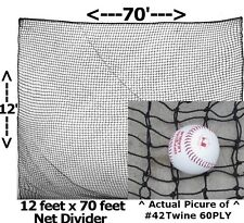 12' x 70' #42 Twine 60 PLY Divider Panel for Baseball Softball Batting Cage Net