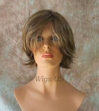 Short Wig Dark Blonde Highlights Long Bangs Choppy Layers Messy Style