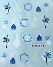 Accessoire ongles : nail art- Stickers noël : chalets, flocons, couronnes,arbres