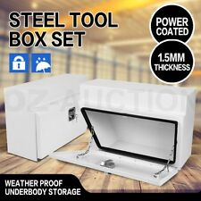 Under Tray Tool Box Pair Set Steel Boxes Rubber Seal Trailer Ute Toolbox Storage