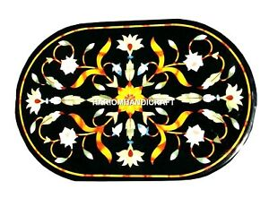 3'x2' Marble Dining Table Top Inlay Marquetry Mosaic Multi Floral Handmade H1138