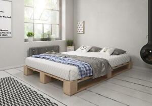 Palettenbett aus Holz Holzbett Massivholzbett Bett aus Paletten 140x200 cm