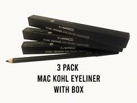 MAC Eyeliner Pencil Black/Smolder 3x PACK - M.A.C. KOHL Eye Liner with Box