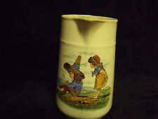"""Adorable Antique Hand Painted Children's Scene 5 1/2"""" ironstone Pitcher"""