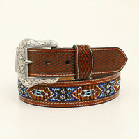 Nocona Tan Leather Mens Beaded Inlay Weave Belt