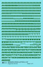 K4 HO Decals Dark Green 3/16 Inch Modern Speed Letter Letter Number Alphabet Set