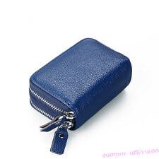 Blue Multi-layer Coin Purse Card Holder Antimagnetic Leather High Capacity Women