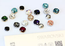 Genuine SWAROVSKI 4470 Square Crystals with Sew On Metal Settings * Many Colors