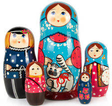"""Nesting Dolls with a Cat 5 pcs 7"""" Russian Doll Matryoshka Hand Painted Russia"""