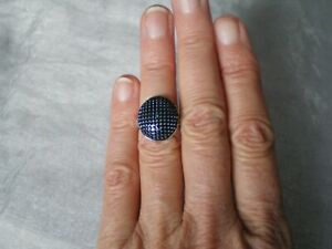 Blue Diamond oval ring, 0.01 carats, size J/K, 4.53 grams of 925 Sterling Silver