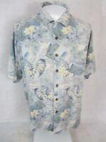 THREE PALMS Men Hawaiian ALOHA shirt pit to pit 26 XL silk tropical camp luau