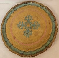 Vintage TRAY Florentine Wood Italian Tole Round Turquoise Gold Italy EUC