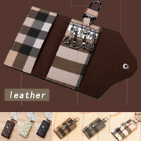 Women Men Leather Wallet Case Car KeyChain Card Holder key Organizer Bag keyring