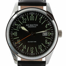 Polierte Armbanduhren im Militär-Stil mit 24-Stunden-Zifferblatt
