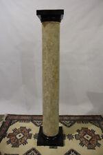 "Maitland-Smith Tessellated Stone Doric Style Column With Brass Feet 72"" Tall"