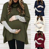2PCS Women Pregnant Maternity Splice Loose Long Sleeve Tops Blouse Tee Shirt Set