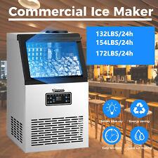New Listinganbull Commercial Ice Maker Stainless Steel Restaurant Ice Cube Machine 132 176