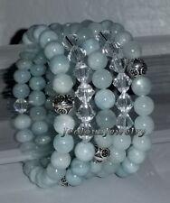 925 Sterling Silver Blue Beryl Aquamarine Gemstone Yoga Arm Candy Bracelet Set