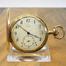 ZENITH SAVONNETTE TASCHENUHR DREI DECKEL 14K 585ER GOLD GRAND PRIX PARIS 1900