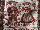 "Vintage Tapestry Table Cloth Red/Beige Folk Austria Cotton/Linen 26""x 26"" EUC"