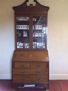 Antique bureau bookcase with marquetry work. Edwardian.