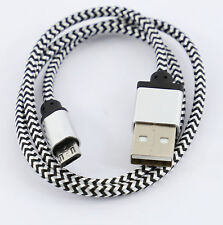 5m SILVER BRAIDED MICRO USB 2.0 CABLE Male/Male DATA Charger Lead HI QUALITY
