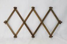 Vintage Expendable Wooden 10 Peg Wall Hanger Mug Coat Hat Rack Early American