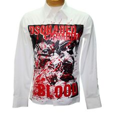 Dsquared2 Multicolor White Dsq2 Classic Fit Canadian Blood Print Shirt Button 46
