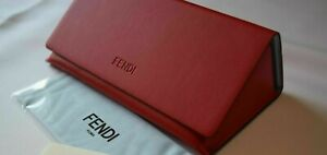 FENDI Leather Triangle Sunglass/Eyeglass Case in Red