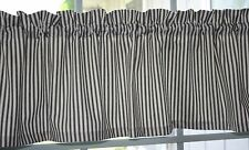 VALANCE -  WAVERLY STRIPED BLACK / OFF WHITE/CREAM  TIMELESS TICKING WITH LINING