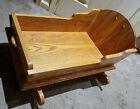 vintage solid wooden oak amish baby doll rocking cradle bed crib