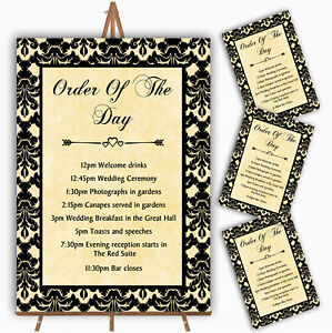 Yellow Black Damask & Diamond Personalised Wedding Order Of The Day Cards