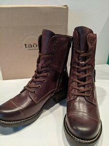Unworn New In Box TAOS CRAVE Bordeaux Leather Boots, Size US 8-8.5 / EU 39-$200