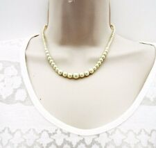 "Dainty Retro Look Graduated Glass Pearl Necklace 16.5"" in Length 30's Style"