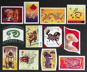 D1121F CANADA 1997-2008 CHINESE LUNAR NEW YEAR COMPLETE SET of 12 stamps Mint NH