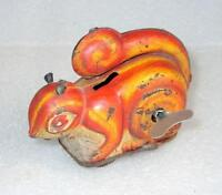 Vintage Old Collectible Rare Wind Up Litho Print Squirrel Tin Toy Japan?