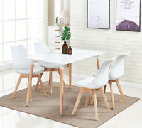 Jamie Dining Set - 4 x Lorenzo Dining Chairs & White Halo Wooden Dining Table
