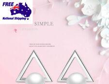 Fashion Sterling Silver 925 Triangle Pearl Elegant Women Earrings Studs