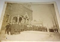 Rare Antique Patriotic American Fraternal Men Outdoor Winter Small Cabinet Photo