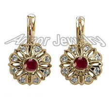 14k Rose Gold 0.45ctw. G/H - I1 Diamonds 0.70ctw. Rubies Russian Style Earrings
