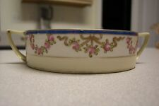 Green Leaf Mark Hand Painted Nippon Double Handled Bowl Rose Wreath &  Gold Trim
