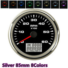 Digital 85mm Tachometer 6K RPM Gauge Truck Car Boat Counter  8color Backlight