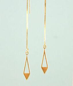 *IAJ* 14k GOLD VERMEIL Ear Thread Threader Earrings DIAMOND w/ CUT-OUT DANGLE