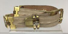 Vintage Size 20 Women's Tan Hornback Alligator Belt Gold Greek Key Lion K15
