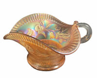 Vtg Dugan Marigold Carnival Glass Floral Sauce Dish Handled Bowl