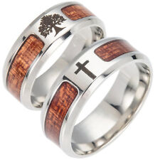 KQ_ Men Wood Inlaid Stainless Steel Finger Ring Jewelry Wedding Band Ring Exquis